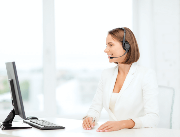 Virtual Receptionist answering calls via a headset, as part of AnswerConnect Services