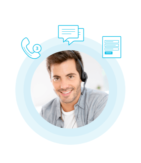 A smiling man on a headset, working as part of a virtual answering services